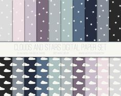 Clouds and Stars Digital Paper Pack by Just Peachy Digital Designs