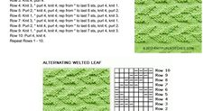 Alternating Welted Leaf. Just knit and purl stitch