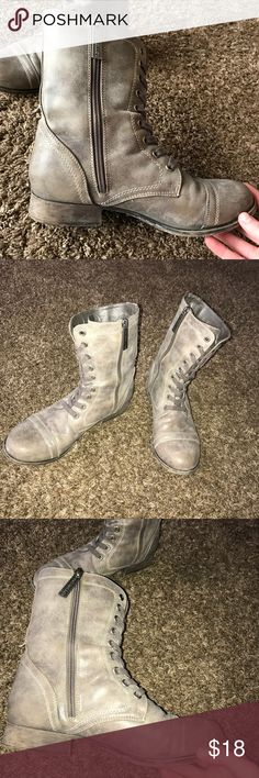 Cute and comfy grey combat boots (7.5) Willing to change price. Comfiest pair of boots I own! They are near and dear to my heart, but my feet outgrew them. The boots are in fantastic condition except for a small scuff on the toe of one of the boots, however that is barely recognizable. Breckelles Shoes Combat & Moto Boots