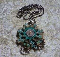 Steampunk Works Pendant Necklace by artsdaughter on Etsy. Handmade with polymer clay and embossing powder.