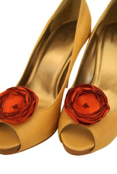 Shoe Clips  Rusty Orange Flower Shoeclips by kpersonboutique, $25.00