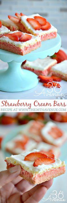 Recipe - Strawberry Cream Bars by the36thavenue.com These are delicious!