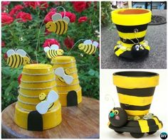 Terracotta Clay Pot Bee DIY Clay Pot Garden Craft Projects