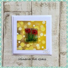 Fused Glass Greeting Card, Handmade, Red Poppy Flower, Floral Gifts, Hand crafted by Minerva Hot Glass Glass Wall Art, Fused Glass Art, Red Poppies, Tea Light Holder, Greeting Cards Handmade, Glass Ornaments, Tea Lights, Poppy, Card Stock