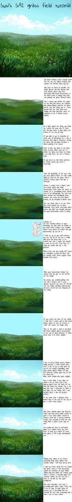 SAI Grass Field Tutorial by Susiron on deviantART