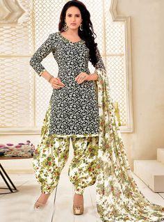 Black Cotton Punjabi Suit 96806