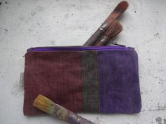 Violet Waxed Canvas Pencil Case Small Make Up Bag by koatye1