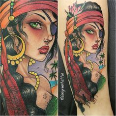 jentheripper | Pirate pin-up tattoo by Dani Green #DaniGreen #newschool #pinupgirl #pirate | Tattoodo