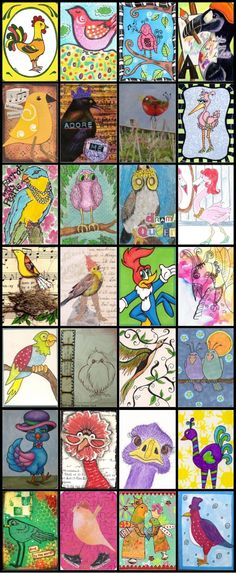 Artist trading cards using the elements of Design - see felt birds in Texture and the owls in Pattern