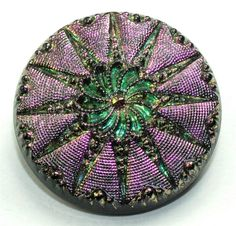 SUPERB ANTIQUE IRIDESCENT GLASS BUTTON ONE WAY PURPLE OTHER GREEN - LOT 445R