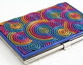 Business Card Case in Rainbow Polymer Clay (Red Border). $30.00, via Etsy.