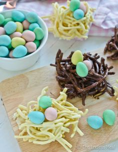 Chocolate Easter Nests - made these every year when CC and Em were little. Use muffin tins to shape the eggs and put candy in immediately so it will stick.