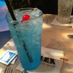 'Shark Water' Sprite or 7UP mixed with coconut syrup and a little blue food coloring.