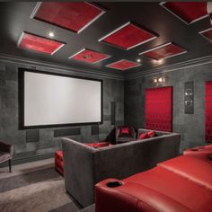 Movie night anyone? 🍿  #theatreroom #red #color #design #inspiration #cozy #ceil