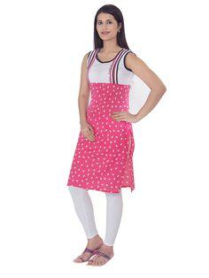 Pink colored Printed Fab Nisa casual kurti at Rs.799/-
