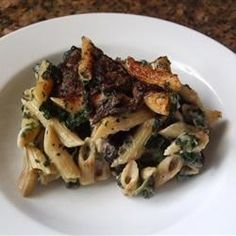 "Portobello Penne Pasta Casserole I ""Loved it! I'm a BIG fan of portabello mushrooms, and this is a great recipe for it. Pasta Casserole, Casserole Recipes, Pasta Recipes, Cooking Recipes, Spinach Casserole, Mushroom Casserole, Mushroom Pasta, Portobello, Pasta Dishes"