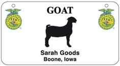 """Check out """"Personalized 4-H and FFA Stall Tags with animal graphic, Cow, Pig, Goat, Sheep, Horse, or Chicken"""" from Jeffers Pet"""