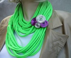 Fashion neony scarf necklage with brooch by wandadesign on Etsy, €20.00