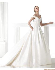 2015 A-linie V-ausschnitt Schlichte Brautkleider aus Taft mit Schleppe