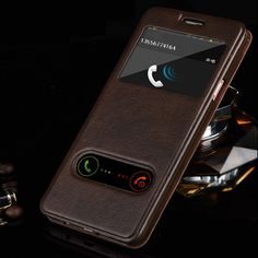 For Samsung galaxy J1 J3 J5 J7 2016 Luxury Smart Front Window View Leather Flip Case For samsung galaxy j5 2016 case Coque Cover