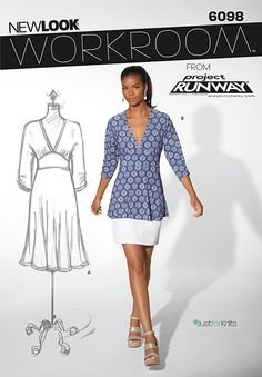 New Look 6098 dress and top   Workroom from Project Runway, misses' pullover knit dress or top.