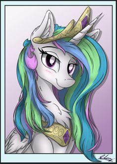 Celestia (Portrait) by on DeviantArt Princesa Celestia, Celestia And Luna, My Little Pony List, Mlp Fan Art, Mlp Pony, Pony Pony, Pony Drawing, My Little Pony Merchandise, Cartoon Tv Shows
