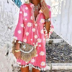 Licala Chic Daisy Print Tassel V-Neck Mini Dress Women's A Line Dresses, Knee Length Dresses, Casual Dresses, Dresses With Sleeves, Sleeve Dresses, Floral Dresses, Floral Tunic, Loose Dresses, Printed Dresses