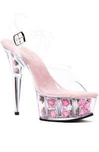 Heels Delight Pink Flower Platform in Pink #transparent #heels www.loveitsomuch.com
