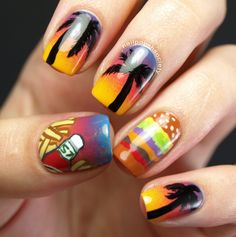 Nailpolis Museum of Nail Art | Cheeseburger In Paradise by Emiline Harris
