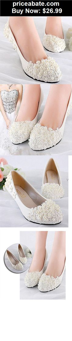 Wedding-Shoes-And-Bridal-Shoes: White lace pearls wedge Wedding flats low heel pump shoes Bridal heels size 5-12 - BUY IT NOW ONLY $26.99