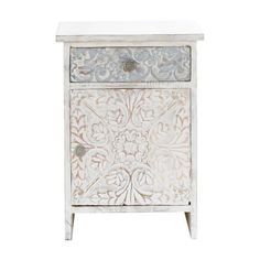 White Indian Nightstand - Namaste from Maisons Du Monde India Home Decor, Easy Home Decor, Handmade Home Decor, Cheap Home Decor, Namaste, White Chest Of Drawers, Decor Scandinavian, Wood Chest, Painted Furniture