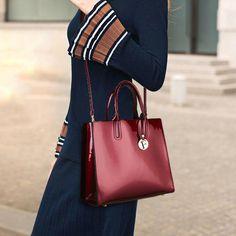 Women Quality Patent Leather Vintage Elegant Handbag Shoulder Bag Crossbody Bag