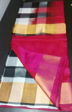 Black and white chequered with pink pallu and blouse Uppada pure silk saree