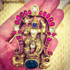 "Amrapali on Instagram: ""A hand crafted pendant depicting Lord Krishna in 22/24kt Gold studded with Diamonds Rubies Sapphires and Emeralds. Repost @Tarang_Arora of #Amrapali"""