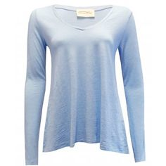 American Vintage Jacksonville V Neck Long Sleeve T-shirt in Crystal Blue