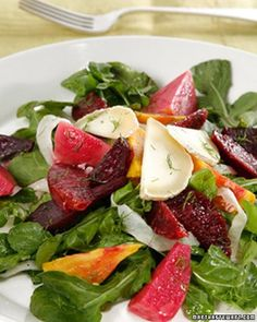 Puree roasted baby beets with a reduction of blood-orange juice and Chardonnay vinegar to make the vinaigrette for this twist on the usual beet-and-goat cheese salad. This recipe is courtesy of Vincent Nargi, executive chef at Cafe Cluny and the Odeon in New York City.