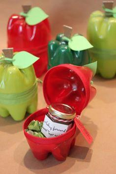 vbasteln mit plastikflaschen, diy boxen aus plastik in form von äpfeln