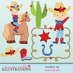 This Cowboy Up clipart set comes with 8 cowboy graphics including: a cowboy on a horse, a cowboy gesturing, a rope frame, a sheriff badge, a cactus, a boot, a cowboy hat and a horseshoe.