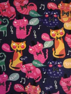 1 yard of singing cats fabric by kittyglammed on Etsy