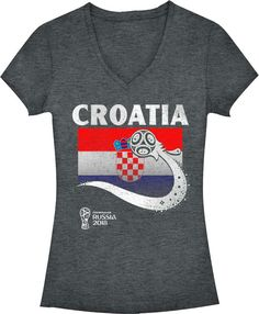 Fifth Sun Women s 2018 FIFA World Cup Croatia Flag Ball Grey V-Neck T-Shirt 219ed3ceb