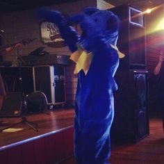 blue bear at stage