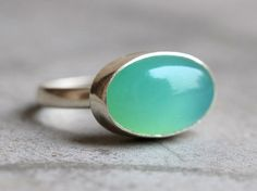 Sea foam green ring - Chalcedony ring jewelry - Bezel set - Oval ring - Gemstone ring - Christmas gift ideas