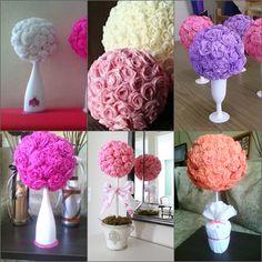 Toparios De Flores De Papel Crepe - $ 70,00 en MercadoLibre