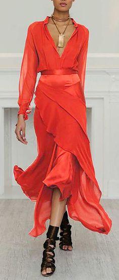 Women Sexy Long Sleeve V-Neck Irregular Plus Size Dress 80s Fashion, Asian Fashion, Look Fashion, Fashion Dresses, Vintage Fashion, Womens Fashion, Fashion Images, Fashion Ideas, Winter Fashion