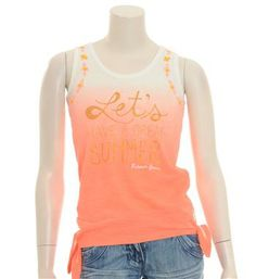 "Retour jeans T-shirt model Halina met print  ""Let's have a great summer"" - Oranje - NummerZestien.eu"
