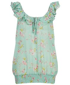 Minty ruffled top that would be cute wit cut offs
