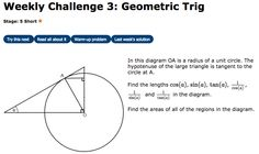 Trigonometry, circles and triangles combine in this short challenge. Visualising, Exam Papers, Trigonometry, Challenges, Diagram, The Unit, Math, Reading, Math Resources