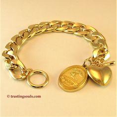 """18 Karat Gold Plated Heart and """"Trusting Souls"""" Bracelet $24.95     Jewelry, Bracelets, Charm Bracelets, Inspirational Gift Charm Bracelet, Keepsake Gift, Gold Bracelet, Angel Bracelet, Gold Heart, Angel, Spiritual Jewelry, Easy Close Bracelet, Gold Angel Bracelet, Grief- Hope Bracelet, Trusting Souls"""