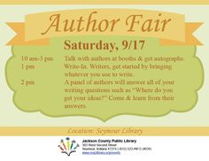 THIS PROGRAM HAS EXPIRED -- Here is your chance to meet area authors, get autographs, and hear them in a panel discussion!