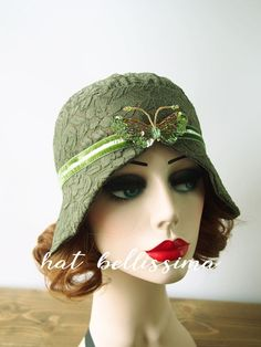 SALE green 1920s Cloche Hat  flowers  cotton Lace fabric Vintage Style hat hatbellissima Summer Hats by hatbellissima on Etsy